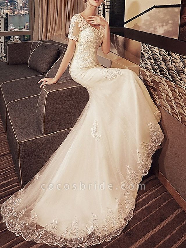 Mermaid \ Trumpet Wedding Dresses V Neck Sweep \ Brush Train Lace Tulle Short Sleeve Beach Illusion Detail Plus Size