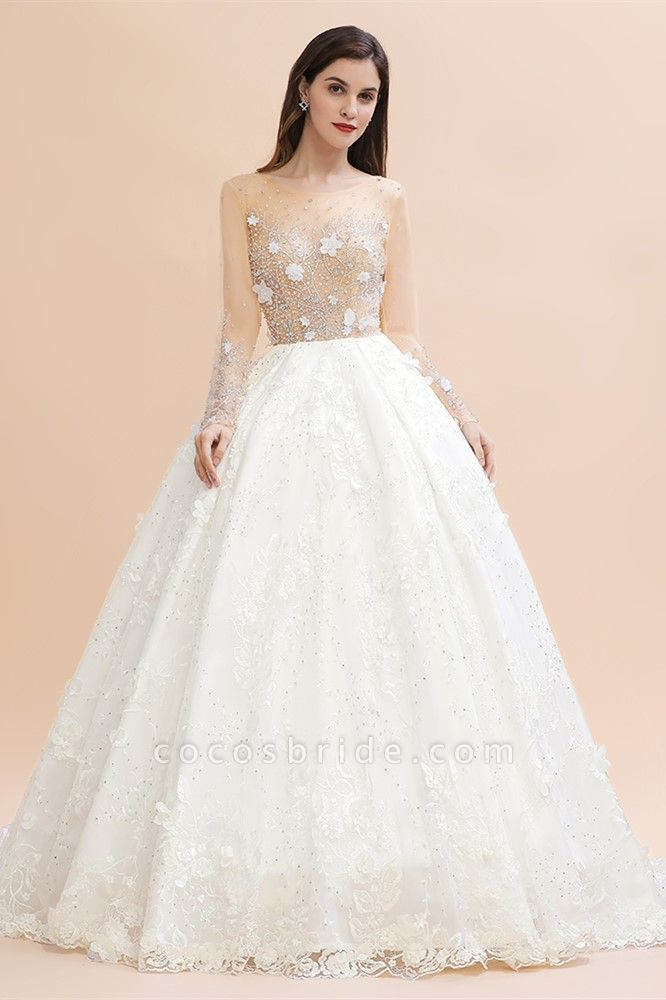Floral Jewel Beads Long Sleeve Ball Gown Wedding Dresses