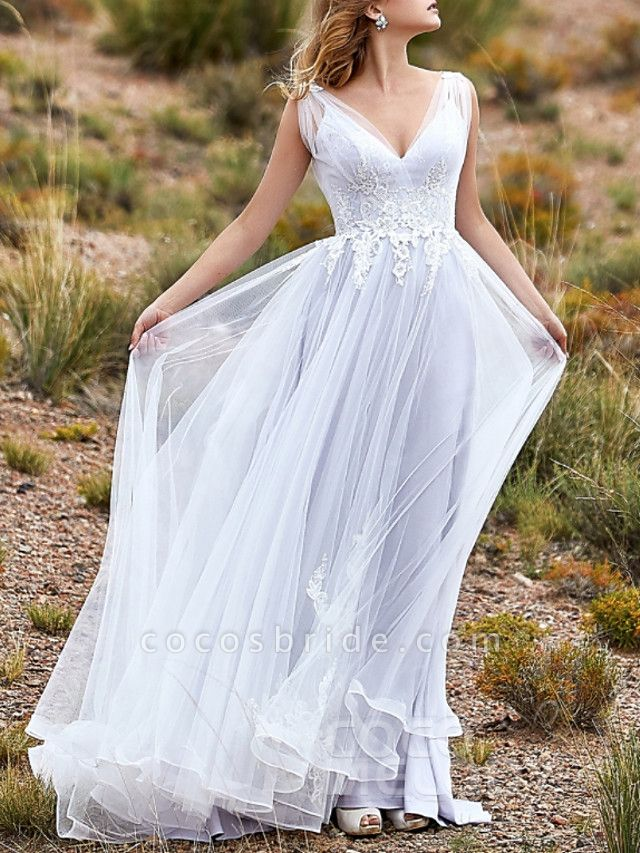 A-Line Wedding Dresses V Neck Sweep \ Brush Train Lace Tulle Sleeveless Beach Vintage Sexy Wedding Dress in Color See-Through Backless