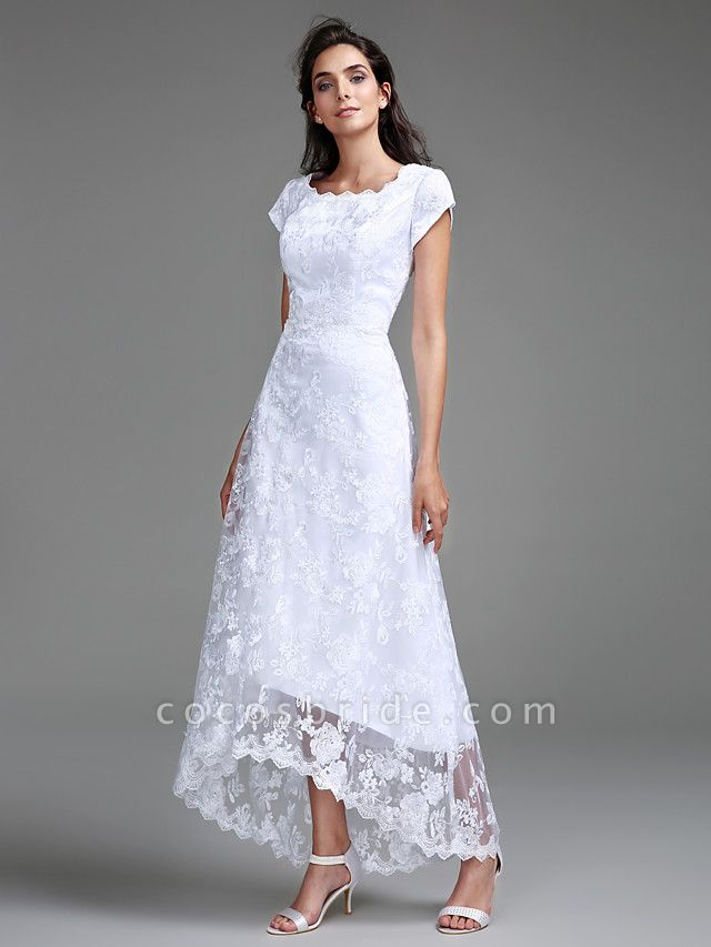 Sheath \ Column Wedding Dresses Jewel Neck Asymmetrical All Over Lace Cap Sleeve Casual Little White Dress