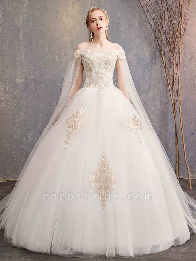 Ball Gown Wedding Dresses Off Shoulder Maxi Tulle Lace Over Satin Short Sleeve Glamorous Illusion Detail