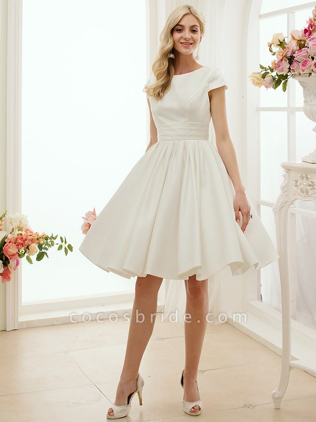 A-Line Wedding Dresses Jewel Neck Knee Length Satin Short Sleeve Formal Simple Casual Little White Dress