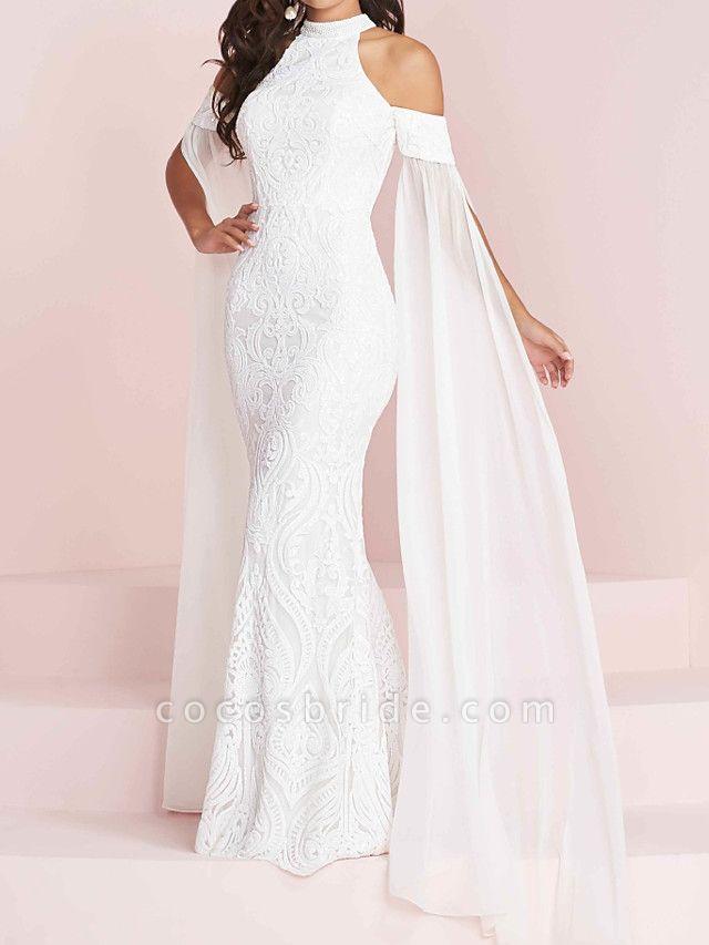 Mermaid \ Trumpet Halter Neck Floor Length Polyester Short Sleeve Country Plus Size Wedding Dresses