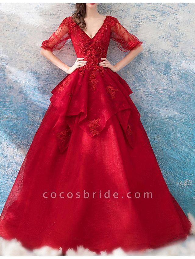 A-Line Wedding Dresses V Neck Sweep \ Brush Train Chiffon Tulle Half Sleeve Formal Plus Size Red