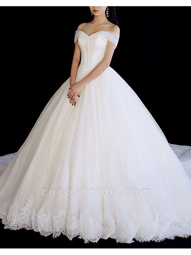 A-Line Wedding Dresses Off Shoulder Chapel Train Tulle Short Sleeve