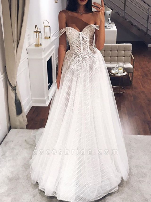 A-Line Off Shoulder Sweep \ Brush Train Tulle Short Sleeve Country Plus Size Wedding Dresses