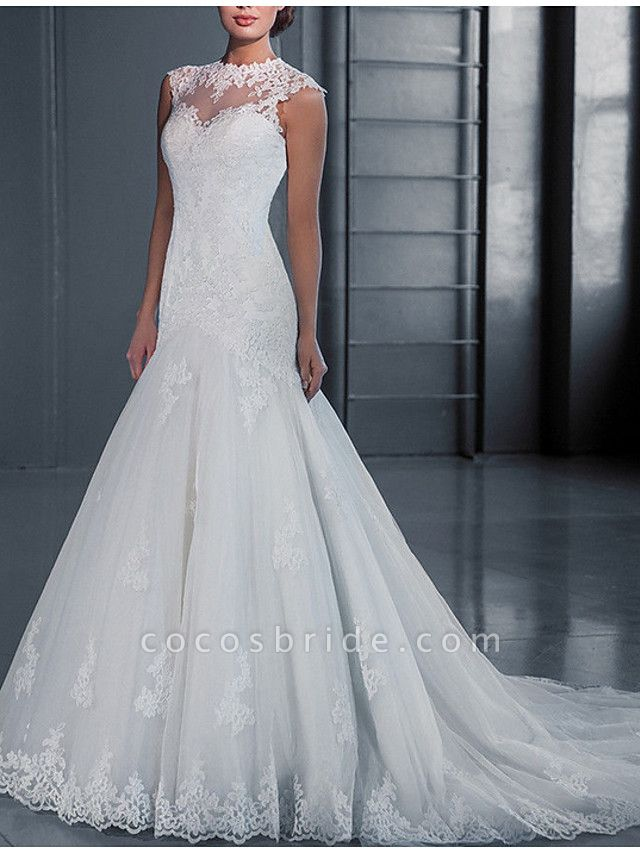 Mermaid \ Trumpet Wedding Dresses Jewel Neck Court Train Lace Regular Straps