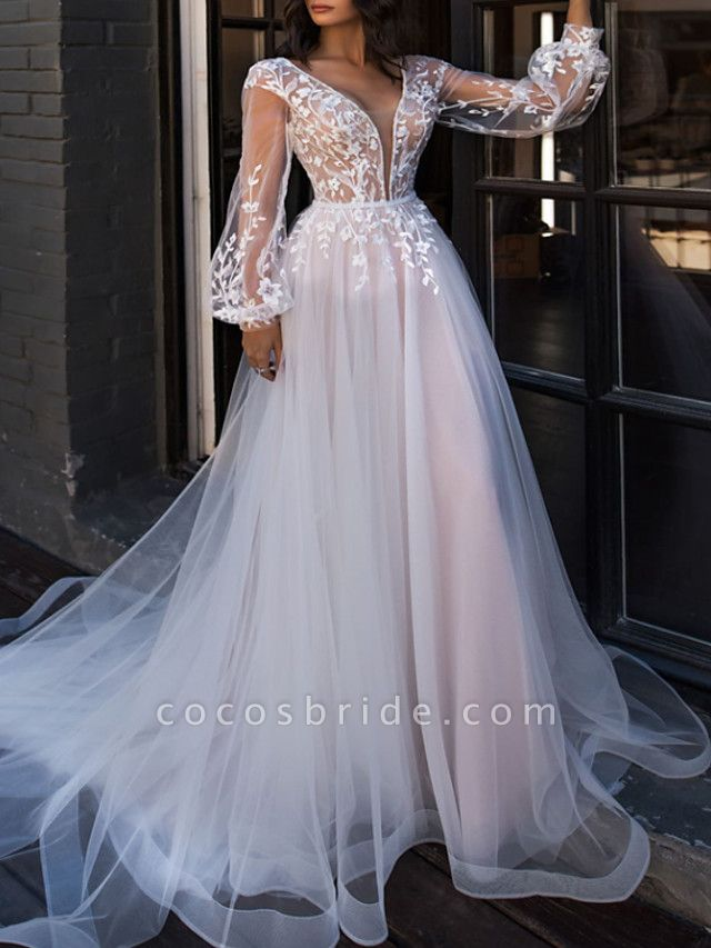 A-Line V Neck Sweep \ Brush Train Lace Tulle Long Sleeve Beach Sexy See-Through Wedding Dresses