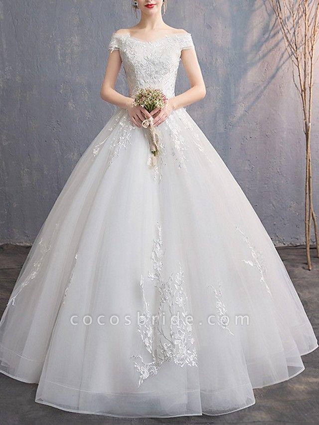 A-Line Wedding Dresses Off Shoulder Floor Length Tulle Cap Sleeve