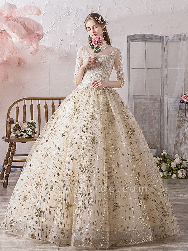 Ball Gown Wedding Dresses Off Shoulder Floor Length Lace Tulle Polyester 3\4 Length Sleeve Country Wedding Dress in Color