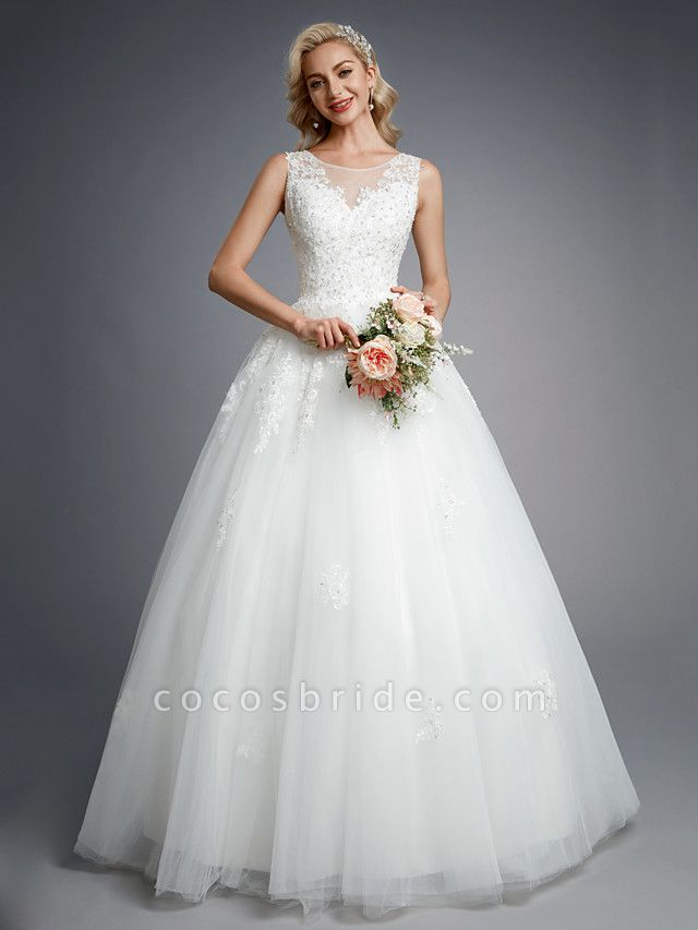 Ball Gown Wedding Dresses Jewel Neck Floor Length Lace Tulle Regular Straps Formal Casual Illusion Detail Backless