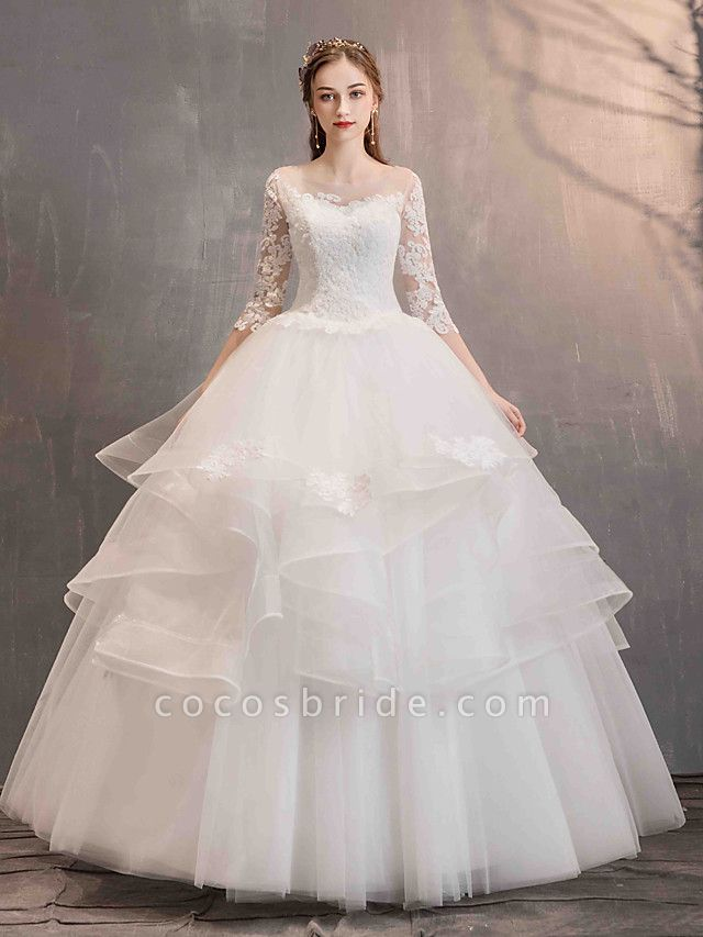 Ball Gown Wedding Dresses Jewel Neck Floor Length Lace Tulle Half Sleeve Glamorous See-Through Backless Illusion Sleeve