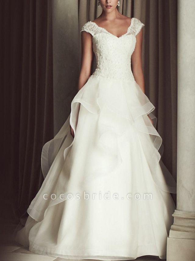 A-Line Wedding Dresses V Neck Sweep Train Lace Cap Sleeve Beach