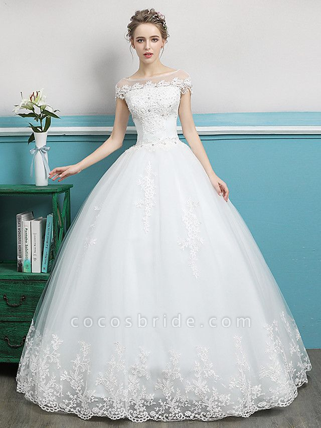 Ball Gown Wedding Dresses Bateau Neck Floor Length Lace Tulle Polyester Short Sleeve Romantic