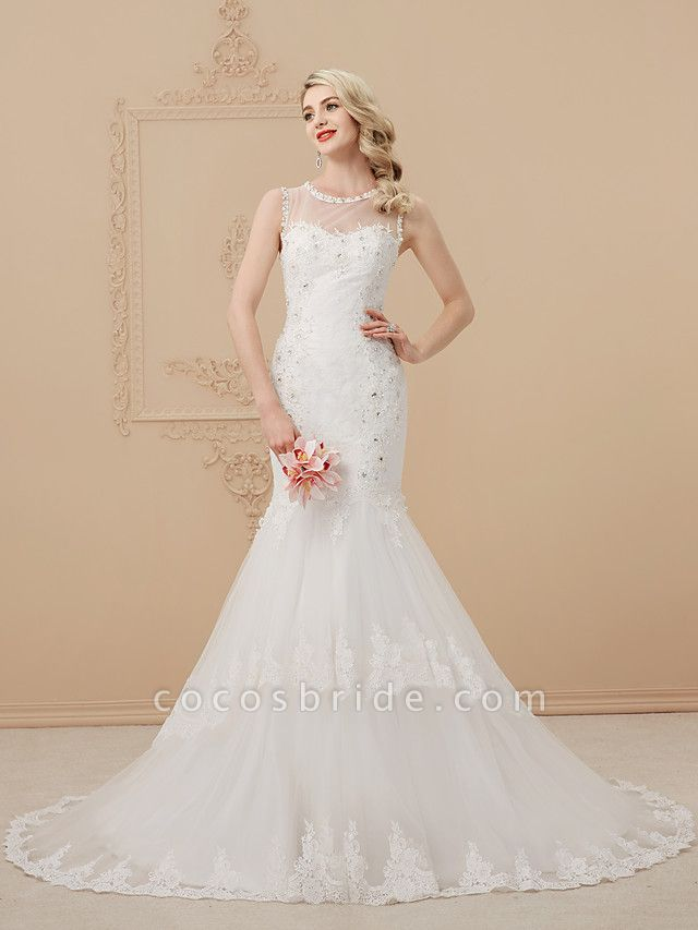 Mermaid \ Trumpet Scoop Neck Court Train Lace Over Tulle Regular Straps Romantic Sexy Sparkle & Shine Illusion Detail Backless Wedding Dresses