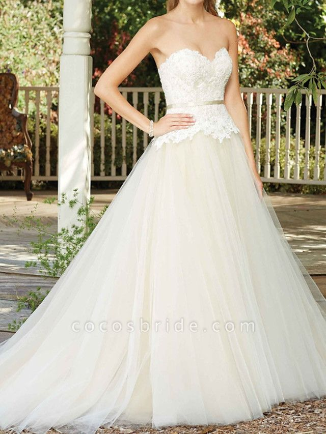 A-Line Wedding Dresses Sweetheart Neckline Court Train Tulle Sleeveless Country Wedding Dress in Color