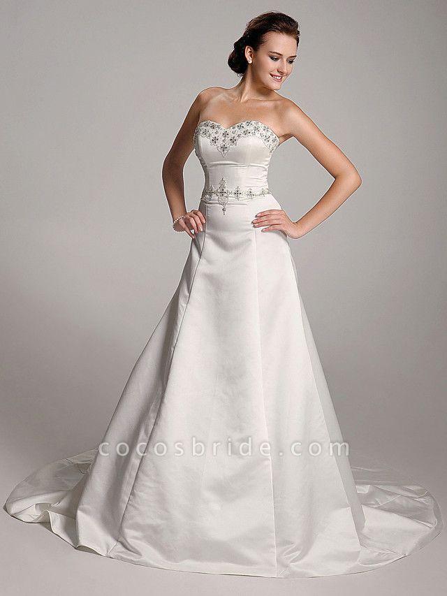 Princess A-Line Wedding Dresses Strapless Sweetheart Neckline Court Train Satin Sleeveless