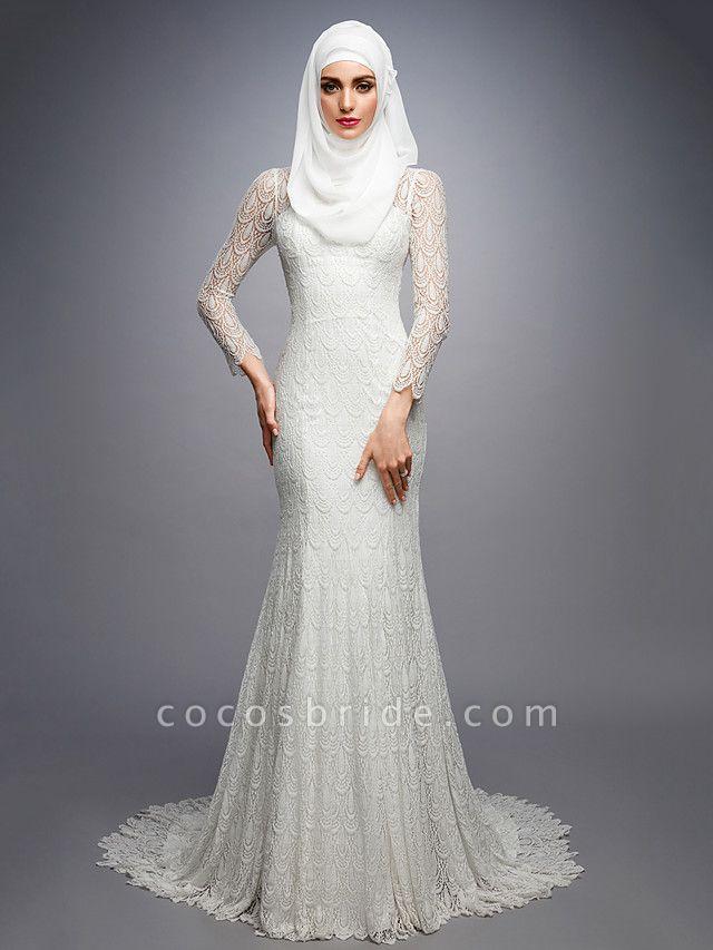 Mermaid \ Trumpet High Neck Court Train Lace Long Sleeve Wedding Dresses