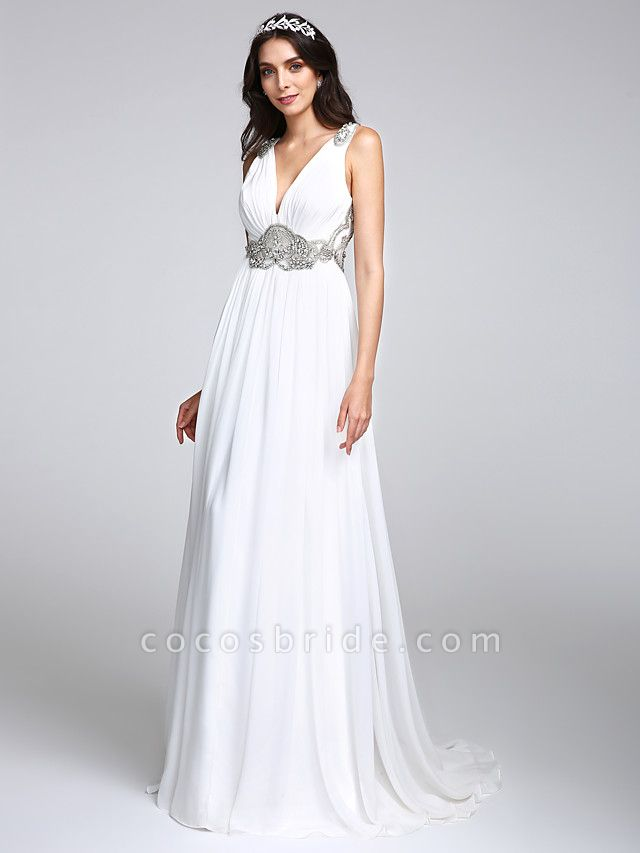 A-Line Wedding Dresses V Neck Sweep \ Brush Train Chiffon Regular Straps Country Romantic Glamorous Sparkle & Shine Plus Size Backless