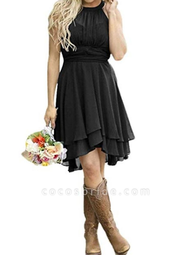 A-Line Wedding Dresses Jewel Neck Knee Length Polyester Sleeveless Formal Plus Size Black