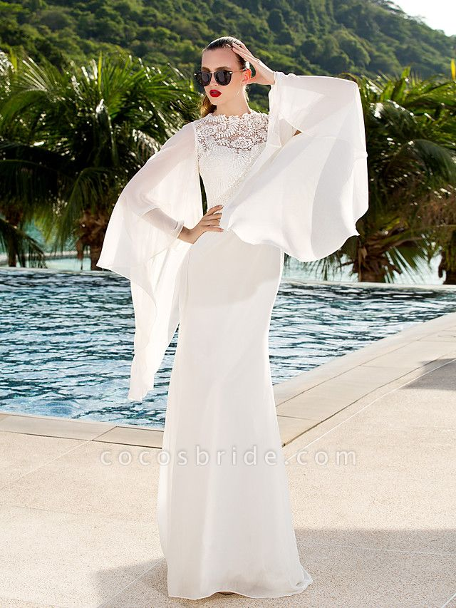 Sheath \ Column Wedding Dresses Jewel Neck Sweep \ Brush Train Lace Georgette Long Sleeve Beach Illusion Detail Backless
