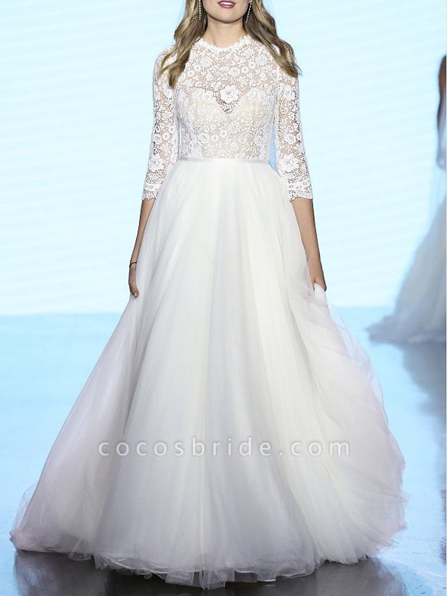 A-Line Wedding Dresses Jewel Neck Sweep \ Brush Train Tulle Polyester 3\4 Length Sleeve Country Boho Plus Size