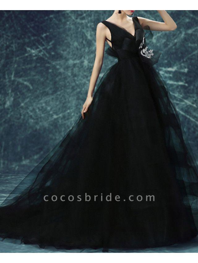 A-Line Wedding Dresses V Neck Sweep \ Brush Train Chiffon Tulle Sleeveless Formal Plus Size Black