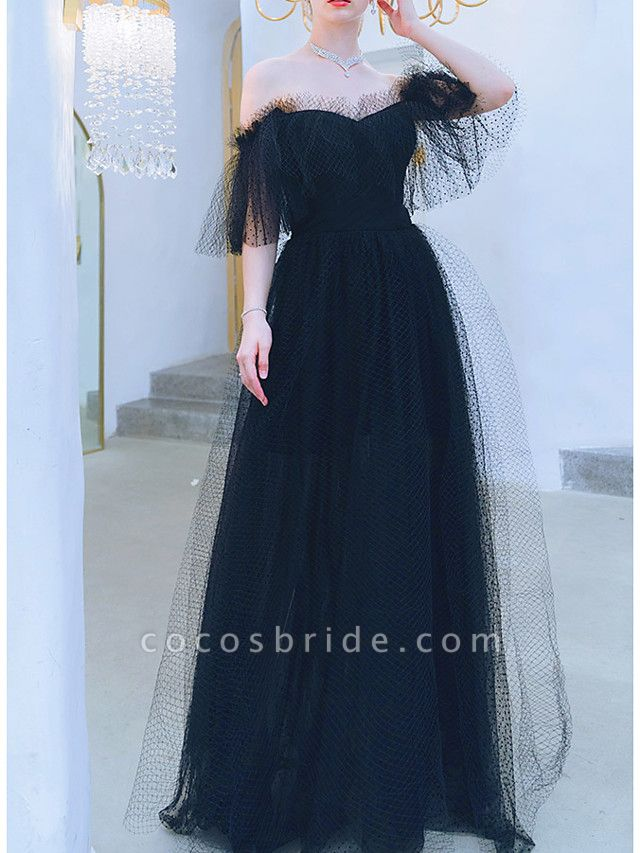 A-Line Wedding Dresses Off Shoulder Floor Length Tulle Short Sleeve Formal Black