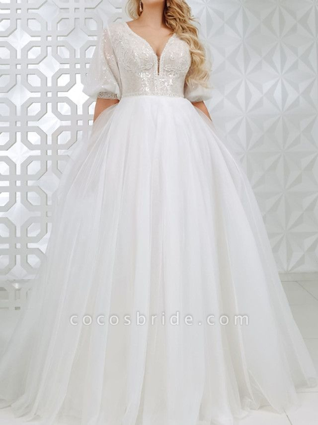 A-Line V Neck Sweep \ Brush Train Lace Tulle Sequined Half Sleeve Country Plus Size Wedding Dresses