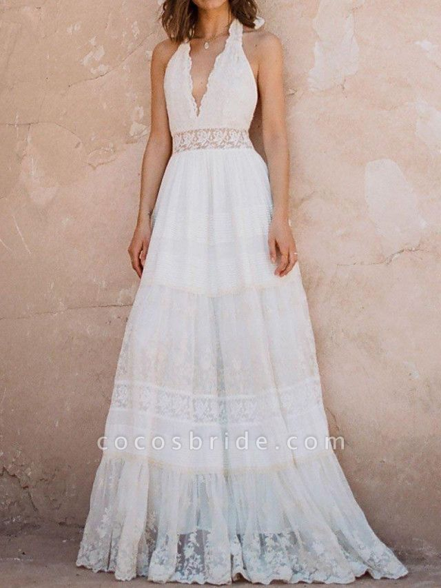 A-Line Wedding Dresses Halter Neck Sweep \ Brush Train Polyester Sleeveless Country Plus Size