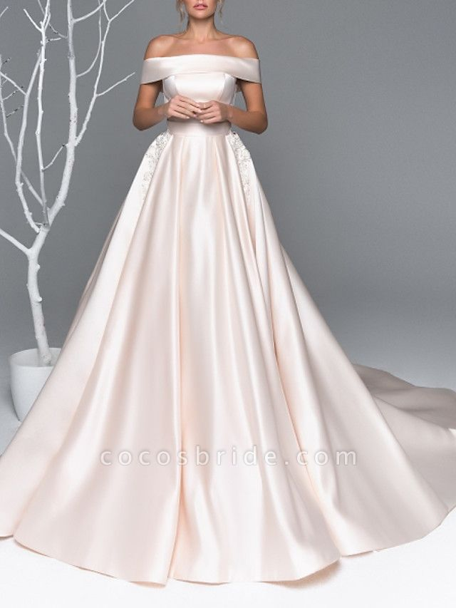 A-Line Wedding Dresses Off Shoulder Court Train Satin Short Sleeve Simple Plus Size Elegant