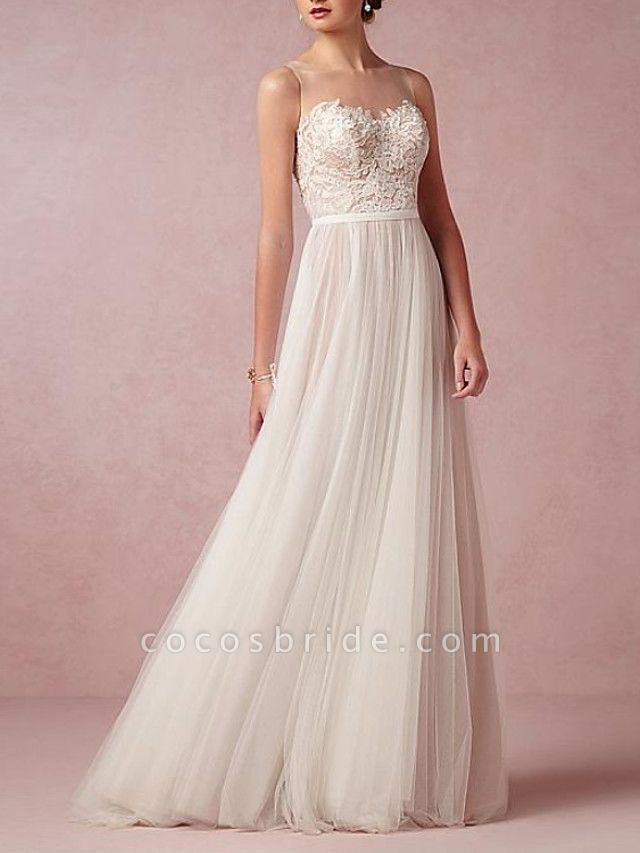 A-Line Wedding Dresses Jewel Neck Sweep \ Brush Train Lace Tulle Sleeveless Beach Sexy See-Through Backless