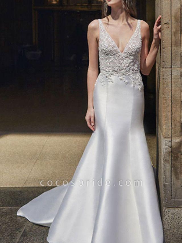 Mermaid \ Trumpet Wedding Dresses V Neck Sweep \ Brush Train Lace Satin Regular Straps Formal Plus Size