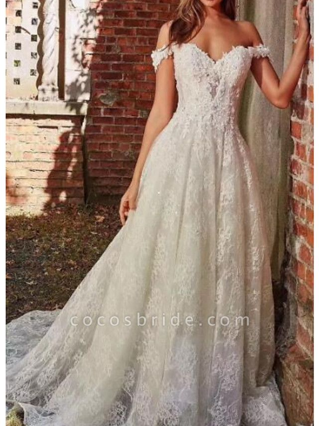 A-Line Off Shoulder Sweep \ Brush Train Polyester Cap Sleeve Country Plus Size Wedding Dresses