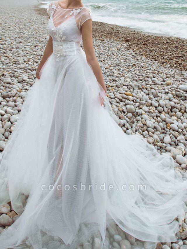 Two Piece A-Line Wedding Dresses Jewel Neck Sweep \ Brush Train Tulle Chiffon Over Satin Short Sleeve Country Plus Size