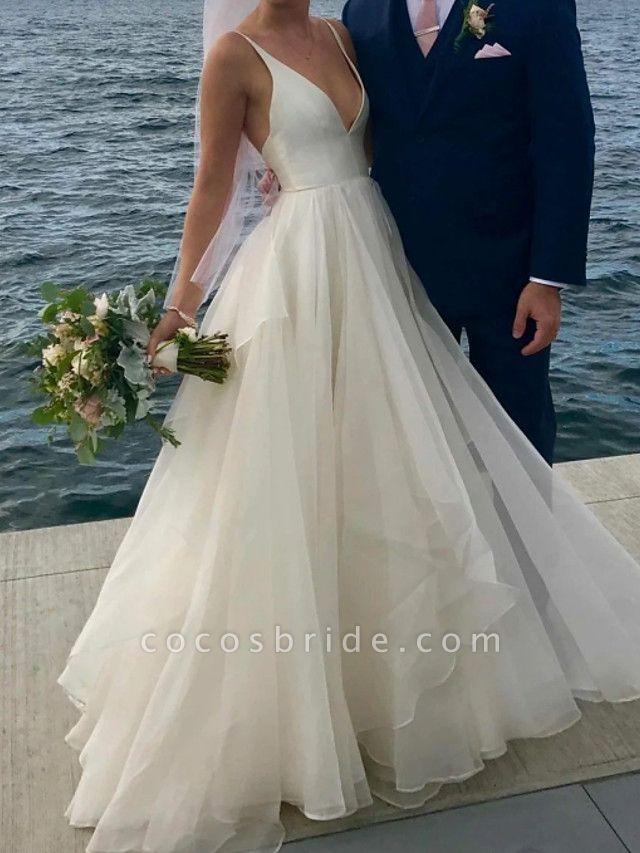 A-Line Wedding Dresses V Neck Floor Length Polyester Sleeveless Formal Plus Size