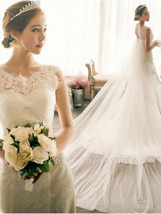 Mermaid \ Trumpet Wedding Dresses Bateau Neck Court Train Lace Tulle Cap Sleeve Plus Size