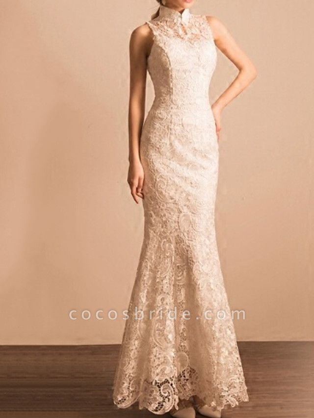 Mermaid \ Trumpet Wedding Dresses High Neck Ankle Length Lace Sleeveless Beach