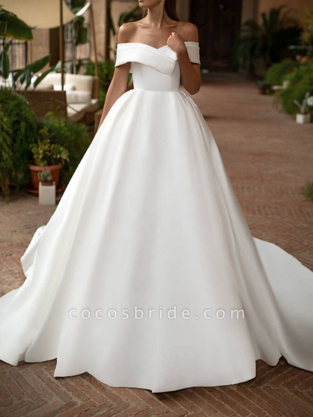 A-Line Wedding Dresses Off Shoulder Court Train Polyester Sleeveless Casual Plus Size