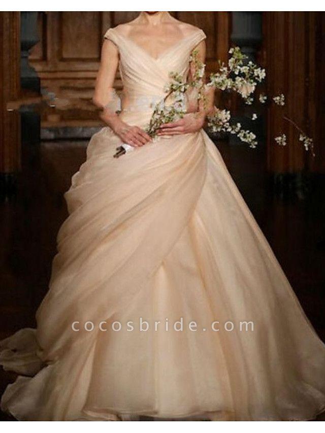 Ball Gown V Neck Sweep \ Brush Train Polyester Sleeveless Romantic Plus Size Wedding Dresses