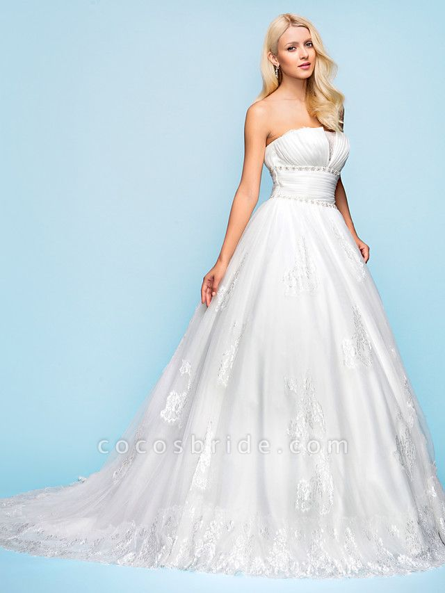 Ball Gown Wedding Dresses Strapless Court Train Organza Tulle Sleeveless