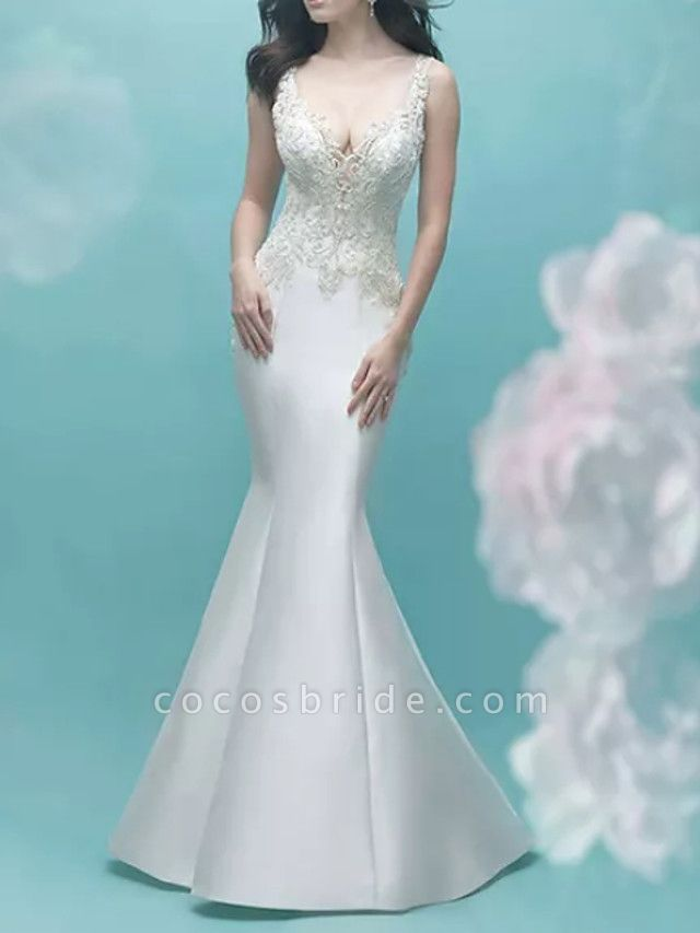 Mermaid \ Trumpet Wedding Dresses V Neck Court Train Lace Satin Sleeveless Casual Plus Size
