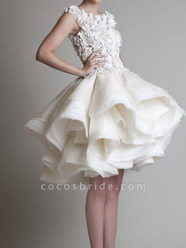 A-Line Wedding Dresses Jewel Neck Asymmetrical Polyester Sleeveless Country Little White Dress Plus Size