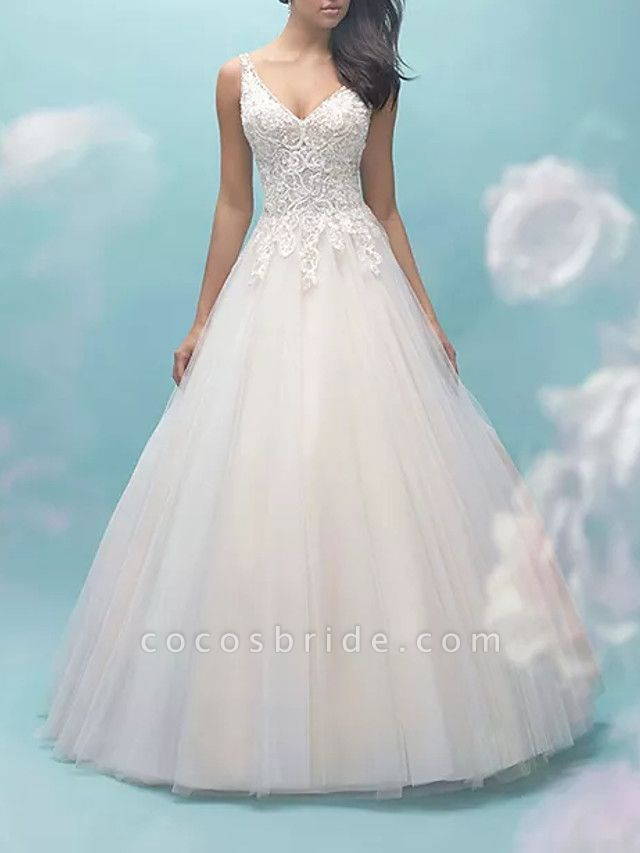 Ball Gown V Neck Sweep \ Brush Train Lace Tulle Sleeveless Formal Casual Plus Size Wedding Dresses