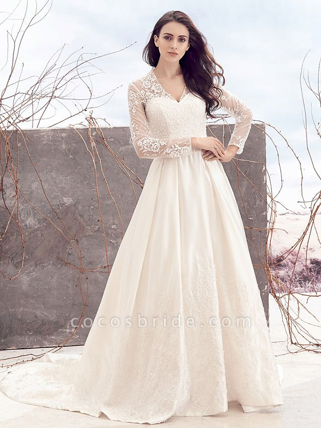 A-Line V Neck Chapel Train Lace Over Satin Long Sleeve Vintage Illusion Sleeve Wedding Dresses