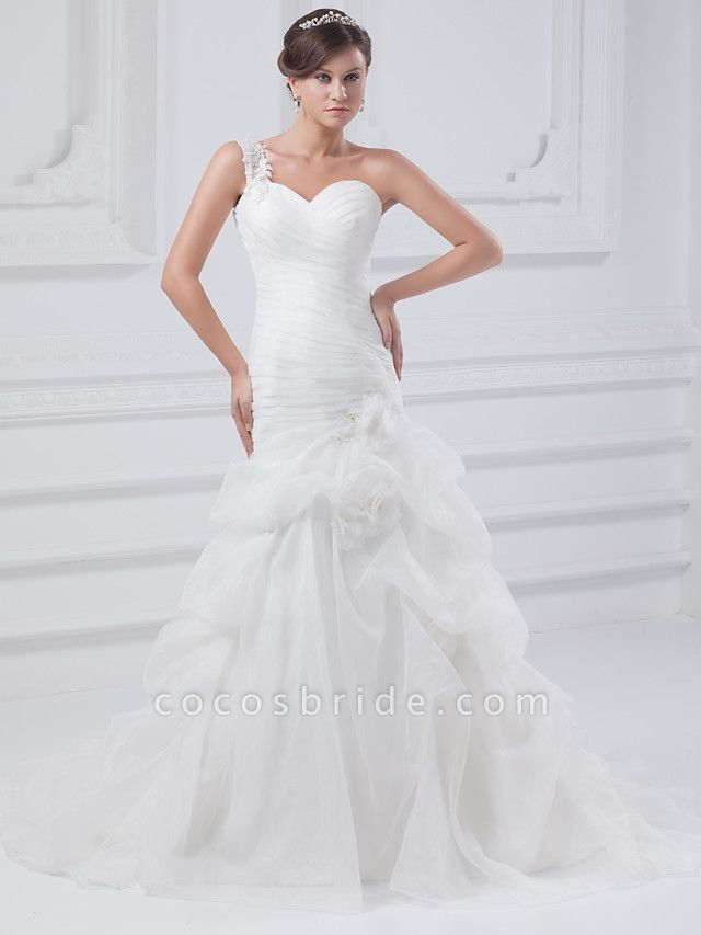 A-Line One Shoulder Court Train Organza Satin Spaghetti Strap Wedding Dresses