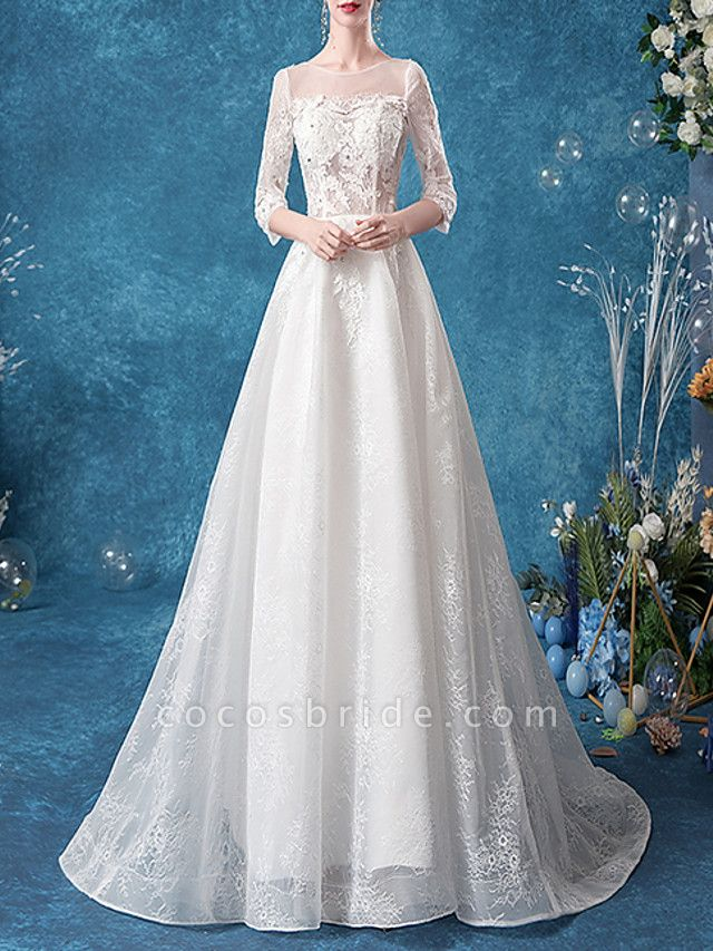 A-Line Jewel Neck Court Train Chiffon Tulle 3\4 Length Sleeve Formal Plus Size Illusion Sleeve Wedding Dresses
