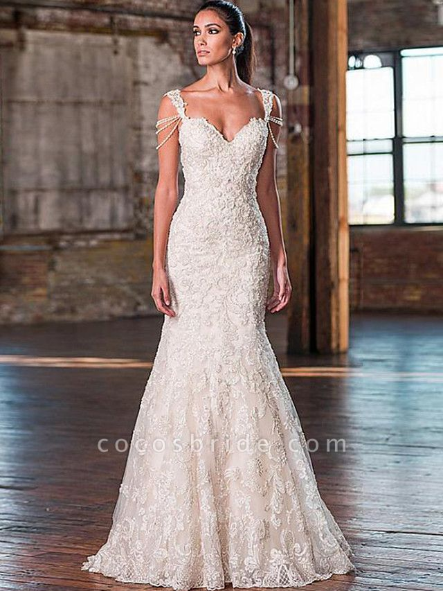 Mermaid \ Trumpet V Neck Court Train Lace Tulle Lace Over Satin Spaghetti Strap Plus Size Wedding Dresses