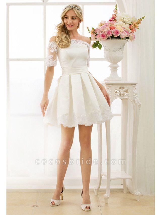 A-Line Wedding Dresses Off Shoulder Short \ Mini Satin Half Sleeve Formal Casual Illusion Detail