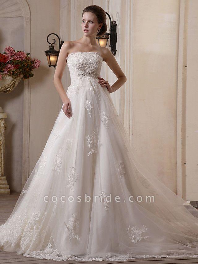Princess A-Line Strapless Scalloped-Edge Chapel Train Satin Tulle Sleeveless Wedding Dresses